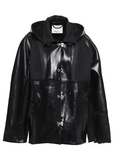 3.1 Phillip Lim Woman Paneled Gabardine And Coated Cotton-blend Hooded Jacket Black