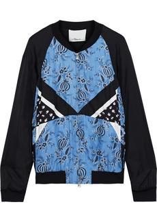 3.1 Phillip Lim Woman Patchwork Floral-print Silk-twill Bomber Jacket Light Blue