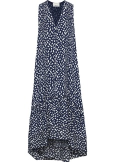 3.1 Phillip Lim Woman Pintucked Printed Washed-silk Dress Navy