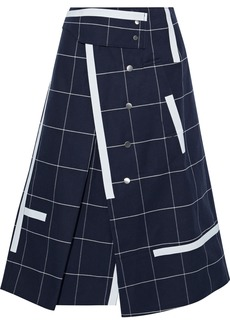 3.1 Phillip Lim Woman Pleated Checked Cotton-blend Twill Midi Wrap Skirt Navy