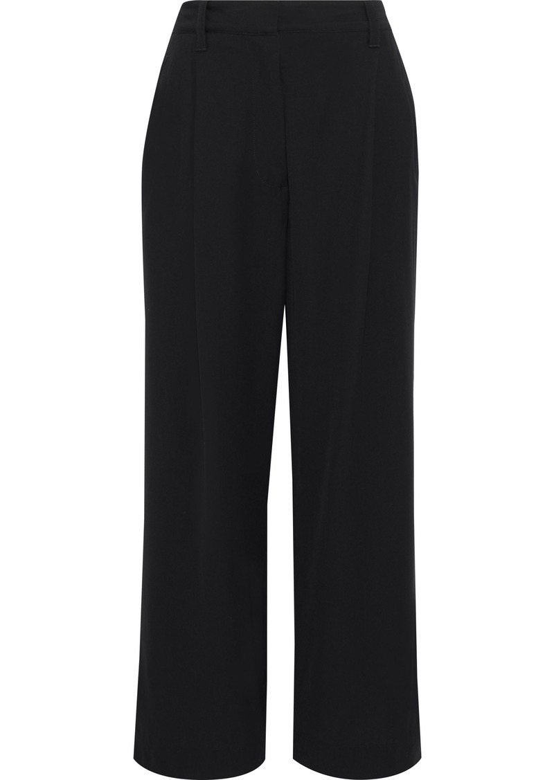 3.1 Phillip Lim Woman Cropped Pleated Crepe Wide-leg Pants Black
