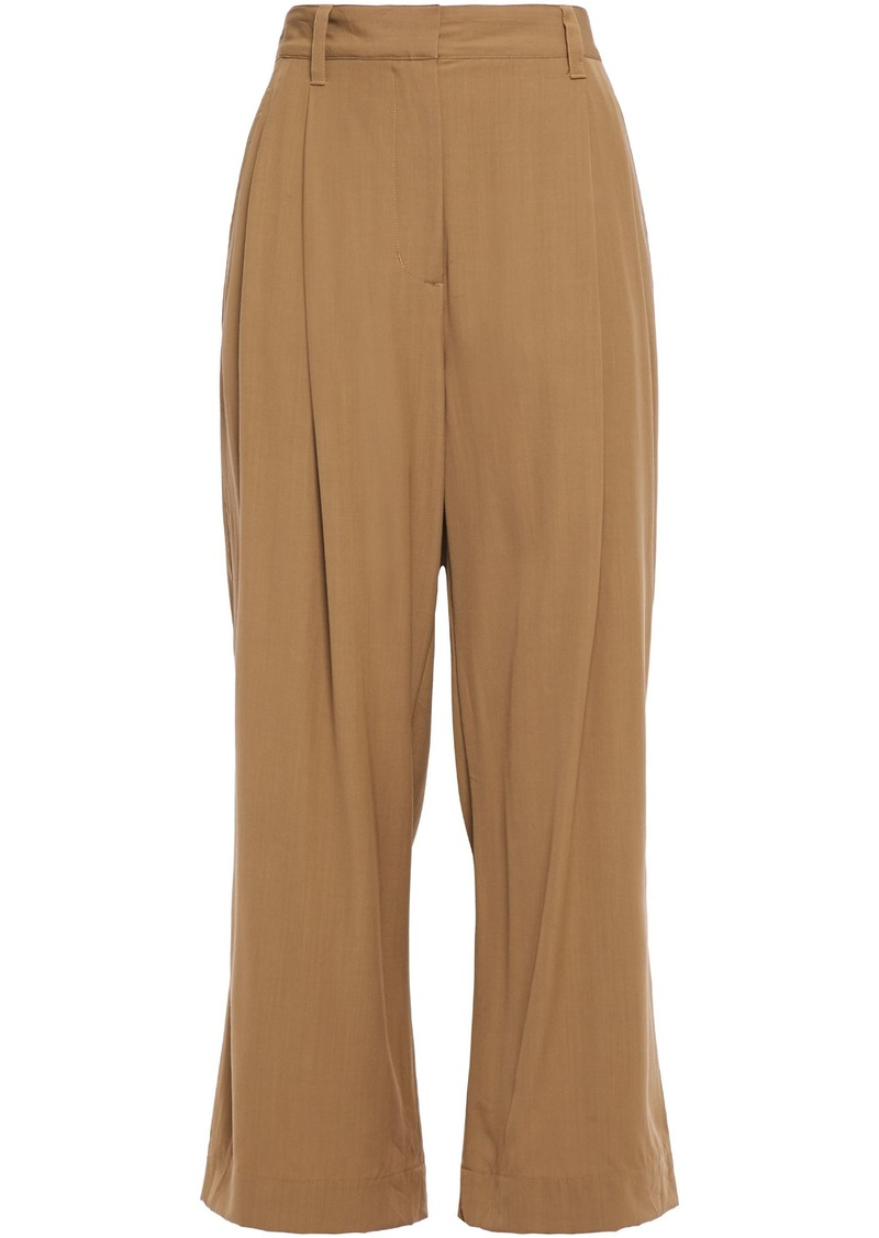 3.1 Phillip Lim Woman Cropped Pleated Crepe Wide-leg Pants Camel