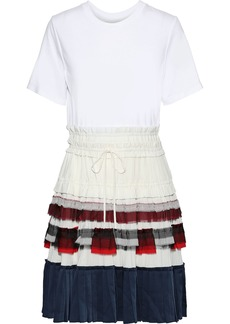 3.1 Phillip Lim Woman Pleated Crepe De Chine Chiffon And Satin-paneled Cotton-jersey Dress White