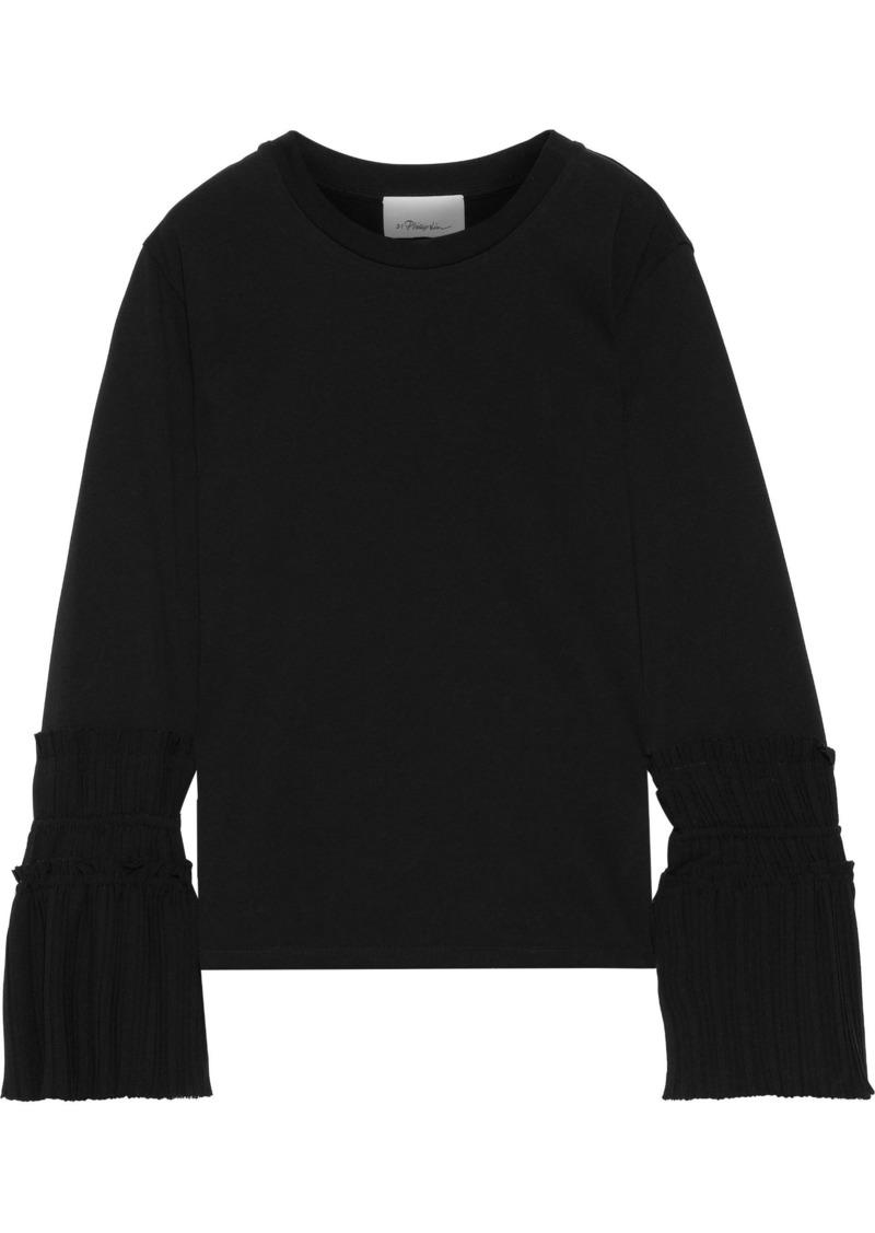 3.1 Phillip Lim Woman Pleated Crepe-paneled Cotton-jersey Top Black