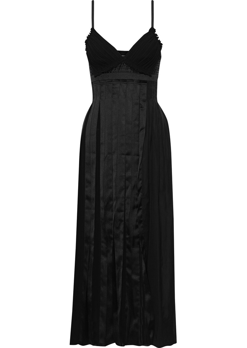 3.1 Phillip Lim Woman Pleated Paneled Cotton Silk And Satin Midi Dress Black