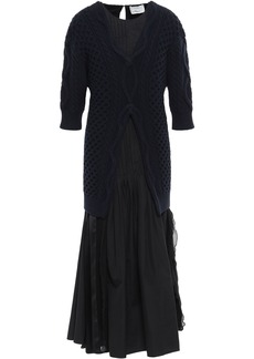 3.1 Phillip Lim Woman Pleated Layered Cable-knit Cotton-poplin And Georgette Midi Dress Navy