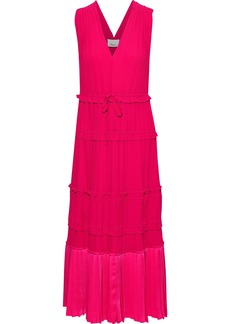 3.1 Phillip Lim Woman Pleated Satin-paneled Crepe De Chine Dress Bright Pink