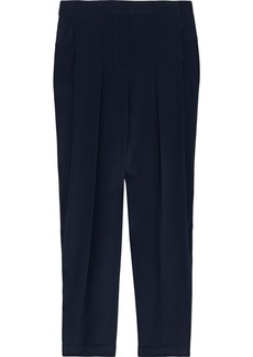3.1 Phillip Lim Woman Pleated Silk Crepe De Chine Tapered Pants Midnight Blue