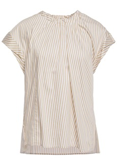 3.1 Phillip Lim Woman Pleated Striped Cotton-blend Twill Blouse Sand