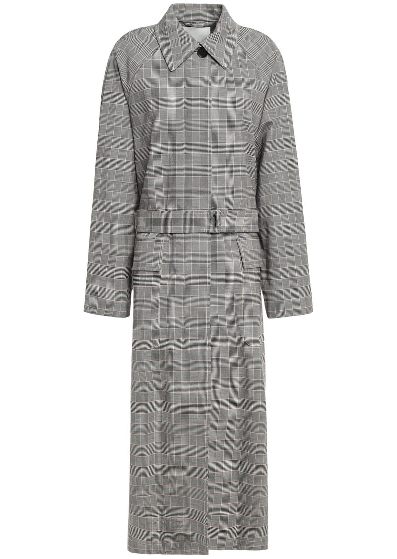 3.1 Phillip Lim Woman Prince Of Wales Checked Wool-blend Trench Coat Black