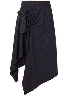 3.1 Phillip Lim Woman Printed Layered Ruched Wool Midi Skirt Navy