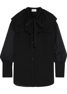 3.1 Phillip Lim Woman Pussy-bow Chiffon-paneled Ruffled Silk Crepe De Chine Blouse Black