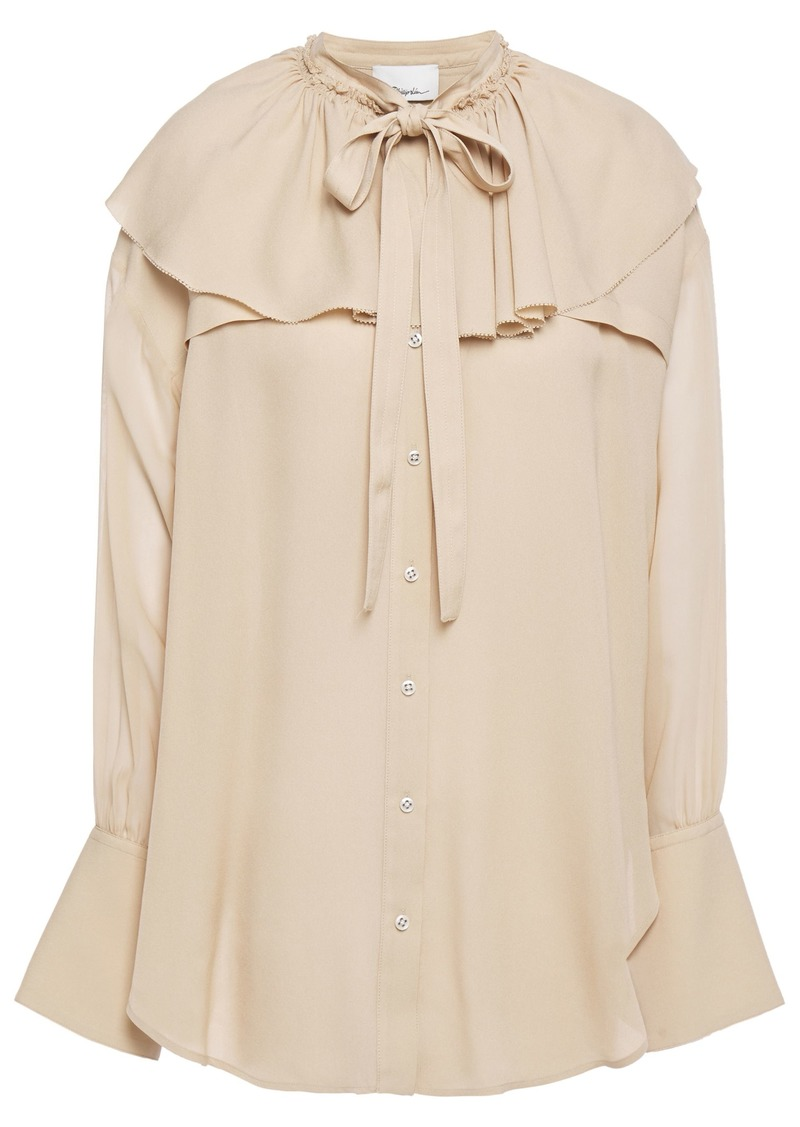 3.1 Phillip Lim Woman Pussy-bow Ruffled Crepe-paneled Silk-voile Blouse Neutral