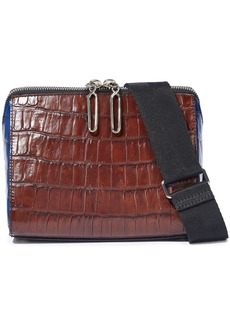 3.1 Phillip Lim Woman Ray Two-tone Croc-effect Leather Shoulder Bag Chocolate