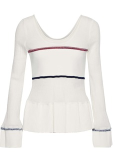 3.1 Phillip Lim Woman Ribbed Knit-paneled Shirred Stretch-cotton Peplum Top White