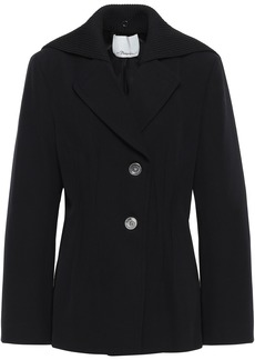 3.1 Phillip Lim Woman Ribbed Knit-paneled Wool-twill Jacket Black