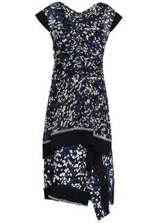 3.1 Phillip Lim Woman Ribbed Knit-trimmed Layered Printed Silk-chiffon Dress Black