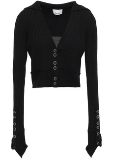 3.1 Phillip Lim Woman Ribbed Wool-blend Cardigan Black