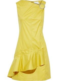 3.1 Phillip Lim Woman Ring-embellished Ruffled Cotton-blend Poplin Mini Dress Chartreuse