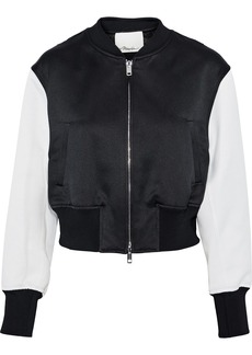 3.1 Phillip Lim Woman Romantic Cropped Cady-paneled Satin-jacquard Bomber Jacket Black