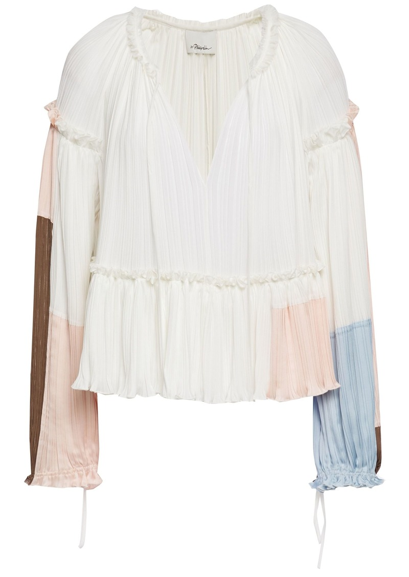 3.1 Phillip Lim Woman Ruffle-trimmed Color-block Plissé Satin-crepe Blouse Ivory