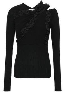 3.1 Phillip Lim Woman Ruffle-trimmed Cutout Stretch-knit Top Black