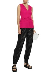 3.1 Phillip Lim Woman Ruffle-trimmed Pleated Crepe De Chine Top Bright Pink