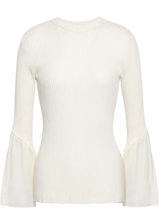 3.1 Phillip Lim Woman Ruffle-trimmed Ribbed Silk And Cotton-blend Top White