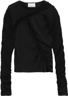 3.1 Phillip Lim Woman Ruffle-trimmed Stretch-silk Top Black