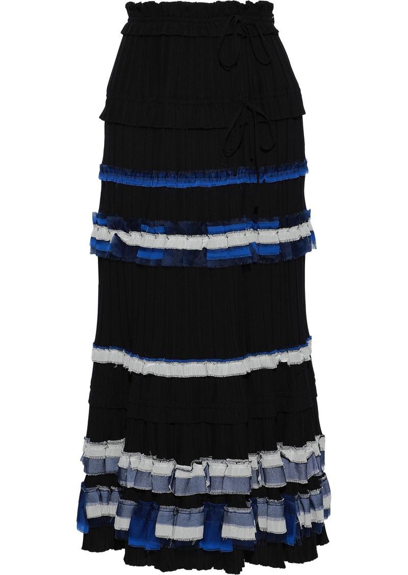 3.1 Phillip Lim Woman Ruffled Chiffon-trimmed Pleated Crepe Maxi Wrap Skirt Black