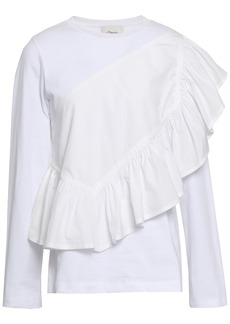 3.1 Phillip Lim Woman Ruffled Cotton-jersey And Poplin Top White