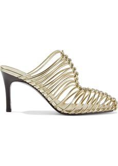 3.1 Phillip Lim Woman Sabrina 85 Woven Metallic Leather Mules Gold