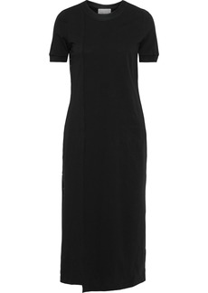 3.1 Phillip Lim Woman Satin-trimmed Button-detailed Cotton-jersey Midi Dress Black