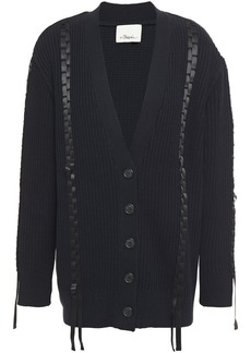 3.1 Phillip Lim Woman Satin-trimmed Ribbed Cotton And Wool-blend Cardigan Midnight Blue