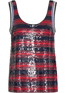 3.1 Phillip Lim Woman Sequined Striped Silk-georgette Tank Burgundy