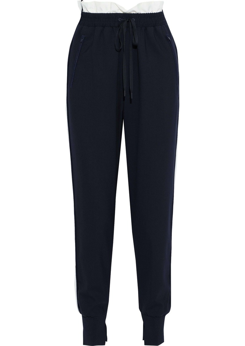 3.1 Phillip Lim Woman Shell-trimmed Wool-blend Track Pants Midnight Blue