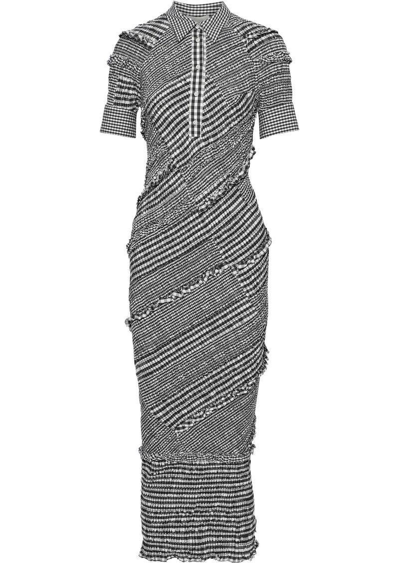 3.1 Phillip Lim Woman Shirred Cotton-blend Poplin Midi Shirt Dress Black
