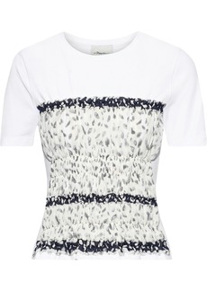3.1 Phillip Lim Woman Shirred Printed Crepe De Chine-paneled Cotton-jersey T-shirt White