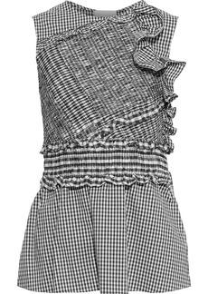3.1 Phillip Lim Woman Shirred Ruffled Cotton-blend Poplin Top Black