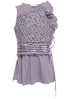 3.1 Phillip Lim Woman Shirred Ruffled Cotton-blend Poplin Top Violet