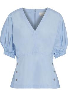 3.1 Phillip Lim Woman Snap-detailed Cotton-poplin Blouse Light Blue
