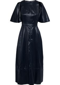 3.1 Phillip Lim Woman Snap-detailed Cutout Coated-twill Midi Dress Midnight Blue