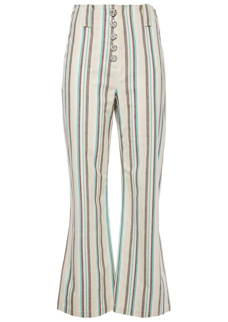 3.1 Phillip Lim Woman Snap-detailed Striped Cotton Kick-flare Pants Cream