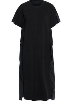3.1 Phillip Lim Woman Stretch-cotton Jersey And Draped Crepe De Chine Midi Dress Black