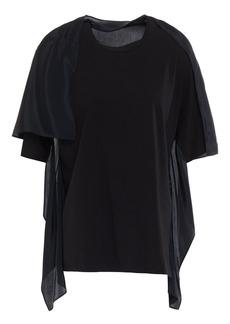 3.1 Phillip Lim Woman Stretch-cotton Jersey And Draped Crepe De Chine Top Black