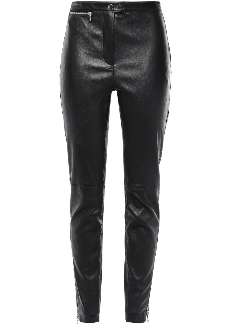 3.1 Phillip Lim Woman Stretch-leather Skinny Pants Black