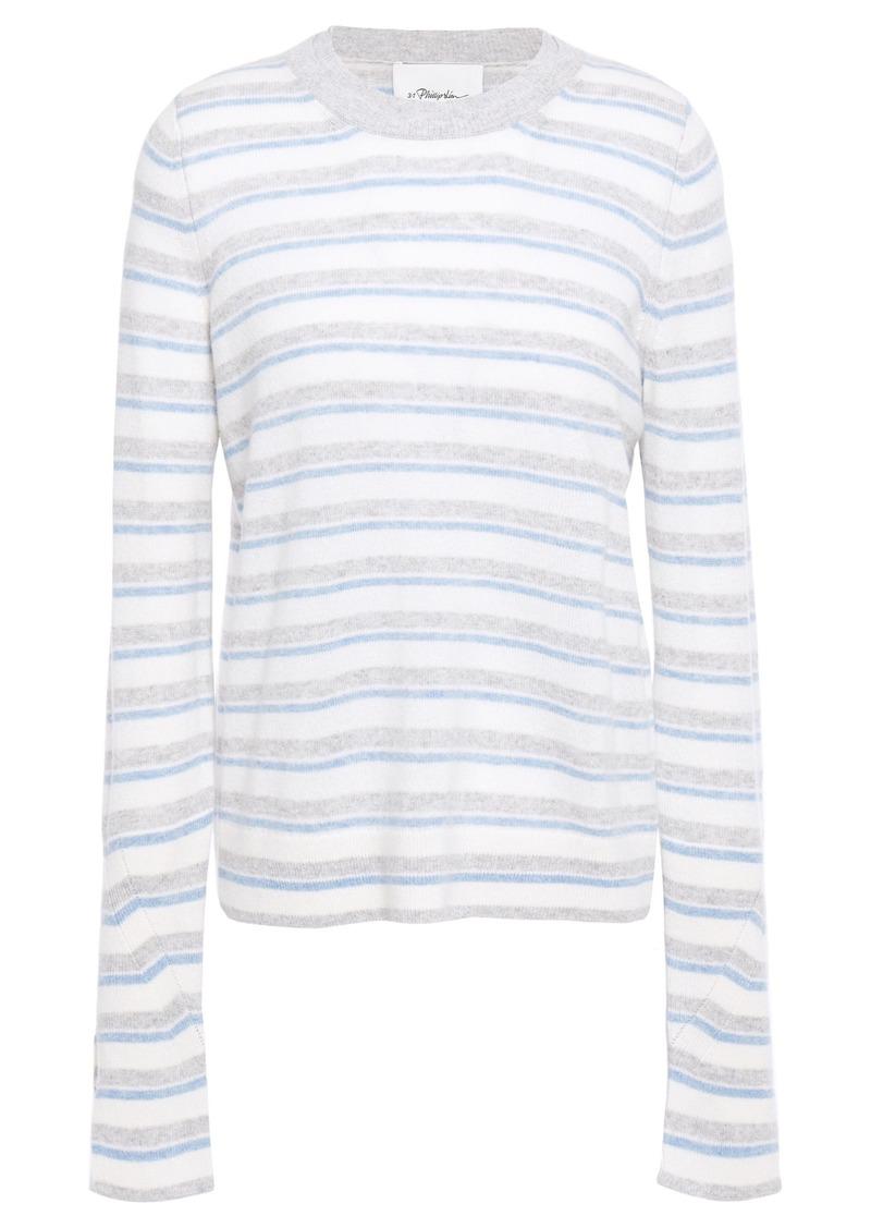 3.1 Phillip Lim Woman Striped Cashmere-blend Sweater Light Blue