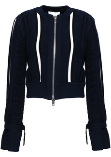 3.1 Phillip Lim Woman Striped Cotton-blend Jacket Navy