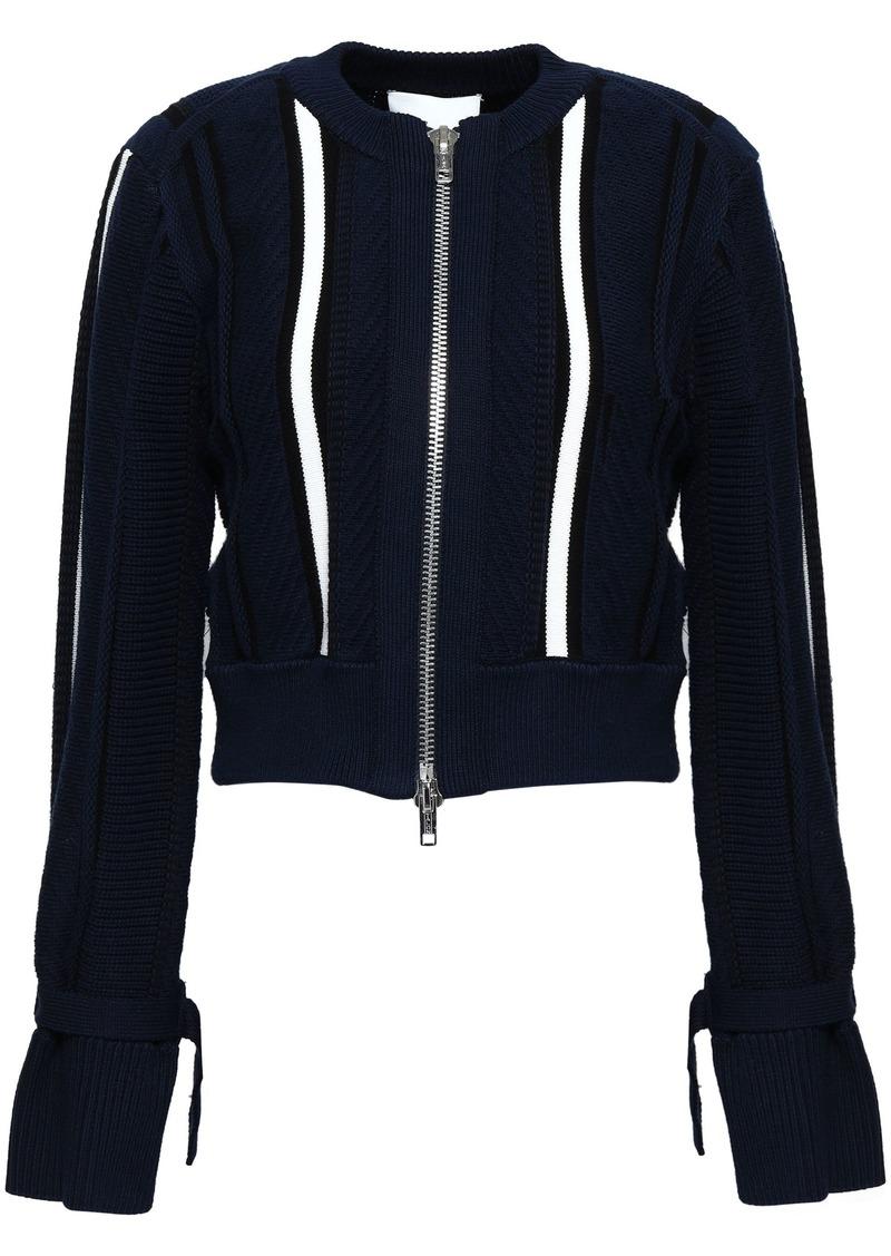 3.1 Phillip Lim Woman Striped Cotton-blend Jacket Navy