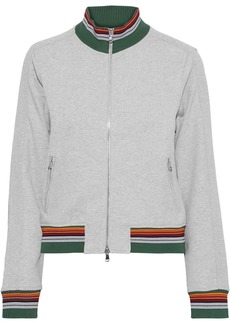 3.1 Phillip Lim Woman Striped French Cotton-terry Track Jacket Light Gray